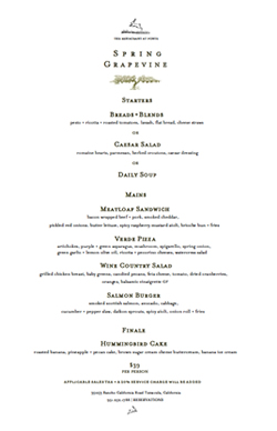 Spring Grapevine Lunch Menu